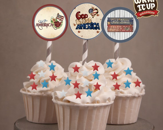 4th of July Cupcake Toppers,  July 4th cupcake toppers, God Bless America cupcake toppers, 4th of July Party . July 4th party. Set of 24