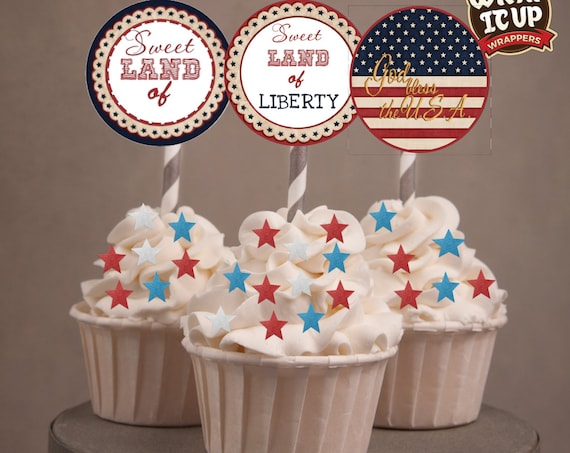 4th of July Cupcake Toppers,  July 4th cupcake toppers, Sweet Land of Liberty cupcake toppers, 4th of July Party . July 4th party. Set of 24