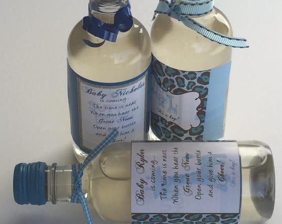 Mini wine bottle labels, Baby Blue Giraffe labels, Welcome Baby Giraffe, Personalized Baby Shower Wine Labels. Blue Giraffe. Set of 9.