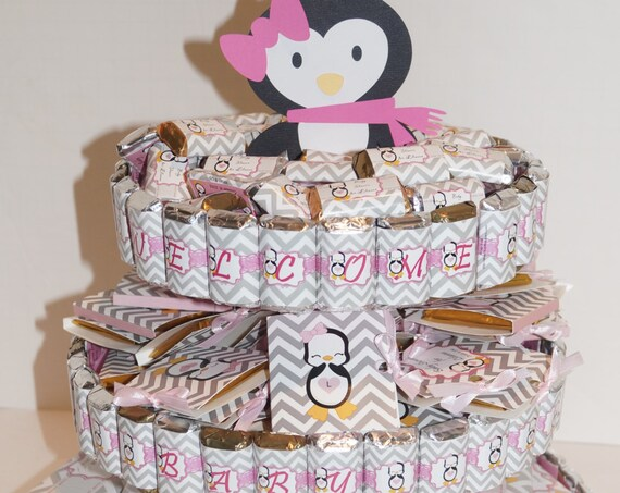 Penguin waddle it be Baby Shower, gender reveal, Penguin Candy Cake, Penguin Baby Shower centerpieces, unique centerpieces
