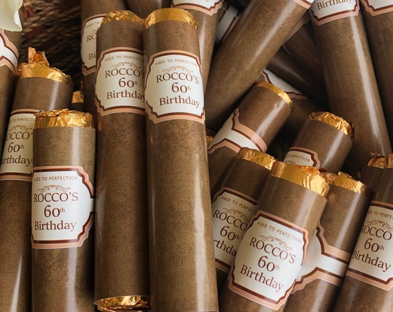 FULLY ASSEMBLED. Birthday Chocolate Cigars, Birthday Chocolate Rolos, Chocolate Cigars. Set of 24