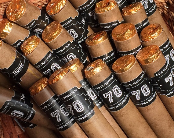 Wrapper and Band ONLY Listing for Chocolate Cigars party favors, 70th Birthday, bachelor party, groomsmen, guy shower. Set of 24.