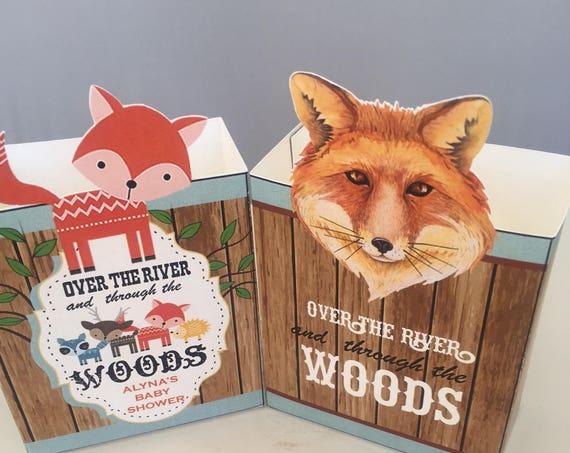 Woodland Critter Favor boxes, Woodland Creatures party favors, Woodland Creatures Baby Shower Favors, Woodland Baby Shower Boxes.  Set of 10