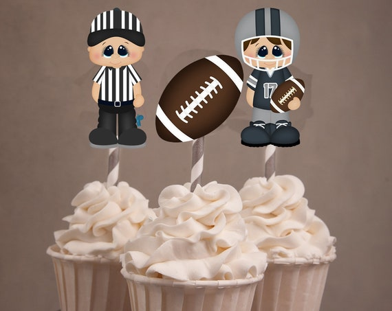 Super Bowl Cupcake toppers, Super Bowl Party, Football Party, Super Bowl Cupcake Toppers, Football Cupcake Toppers. Set of 24