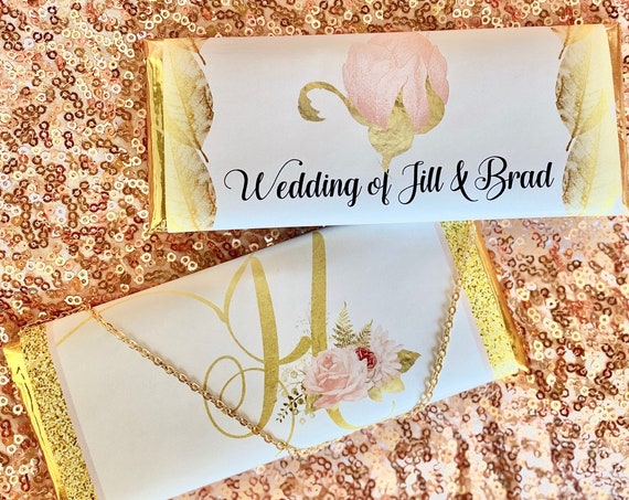 Blush and Gold Design Chocolate Clutch Purse, Gold and Blush Chocolate Purses, Bridal Shower blush pink Design Chocolate Wrapper.Set of 20.