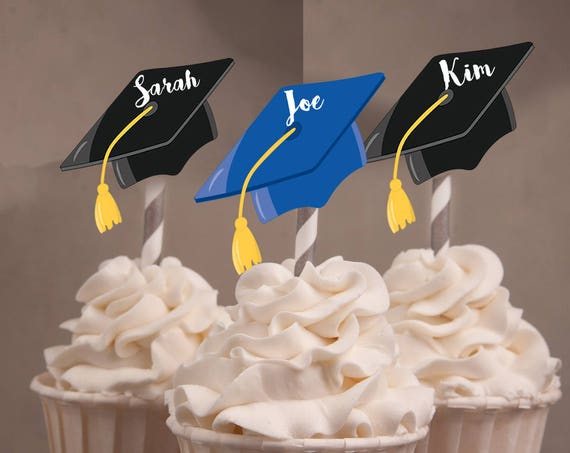 Graduation 2018 Cupcake Toppers, custom Caps Cupcake Toppers,Hats off to you, You did it toppers. Grad caps, Graduation Favors.Set of 24.
