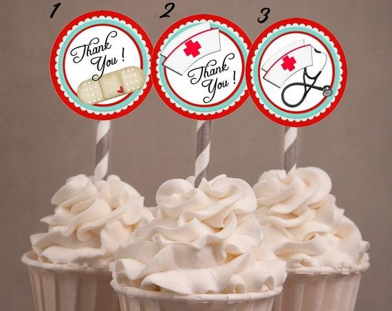 Nurse Week Cupcake Toppers, National Nurse Week Cupcake Toppers. National Nurse Day Cupcake Toppers. Set of 24