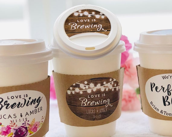 Wedding Coffee Cups, Wedding Coffee Paper Cups, Sleeves, and labels,Love is Brewing Coffee Paper Cups,The Perfect Blend Paper Cups.Set of 20