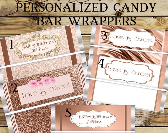 Gold Rose candy bar wrappers, Gold Rose Party Theme, Gold Rose Birthday party, Gold Rose Wedding favors.  Set of 20.