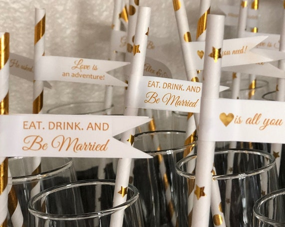 Wedding Gold Straw Flags, Engagement Party Gold Straw Flags, Bridal Shower Gold Wedding Straw Flags.  Gold Straw Flags. Set of 50.