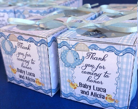 Baby Shower Boy Favor Box, Baby Elephant Shower Favor Box, Baby Boy Favor Box, Cube Box, Baby Shower Cube Box. Set of 10