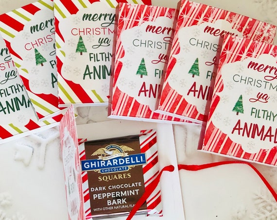 Merry Christmas Ya Filthy Animal Ghirardelli Chocolate Books,Candy Cane Design Ghirardelli Chocolate Books,Christmas Ghirardelli. Set of 15