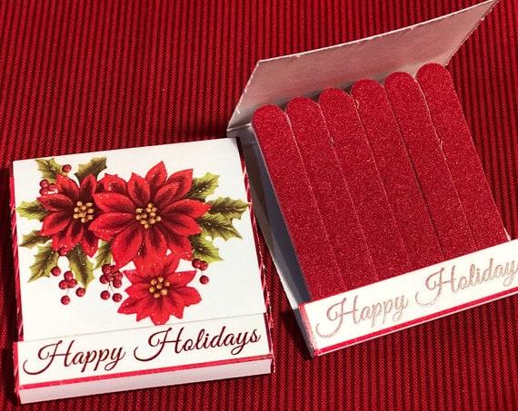 2 Designs, Christmas nail file books,nail file Emery Boards,Unique Christmas Stocking Stuffers,Mini nail file book. Set of 5 per order