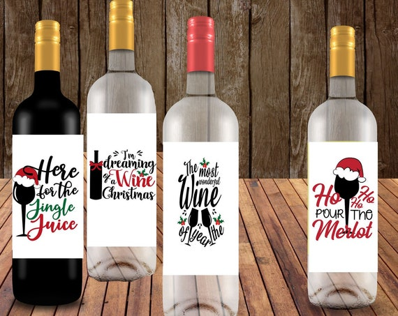 Christmas Wine Labels, Holiday Wine labels Personalized Wine Labels, Photo Wine Labels, Christmas Photo wine labels,  Set of 4