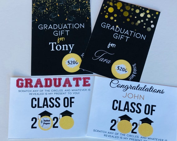 Graduation Scratch Off Cards,Class of 2020 Graduation Gift,Graduation Scratch Off Card Gifts, Creative Grad Gift.Set of 1 card per order.