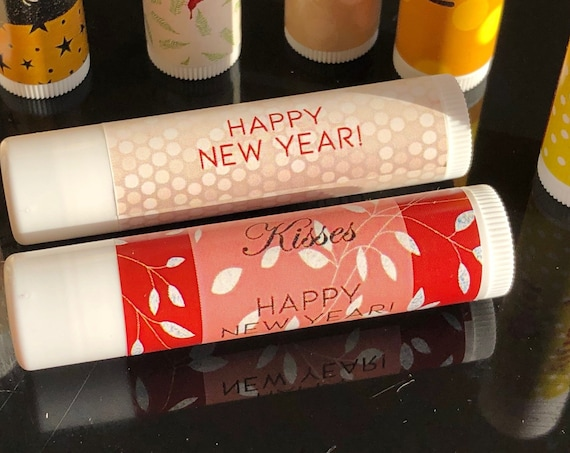 FULLY ASSEMBLED New Year's Eve Lip Balm, Chappy New Years Lip Balm, For Your Midnight Kisses Lip Balm. Set of 15 per order.