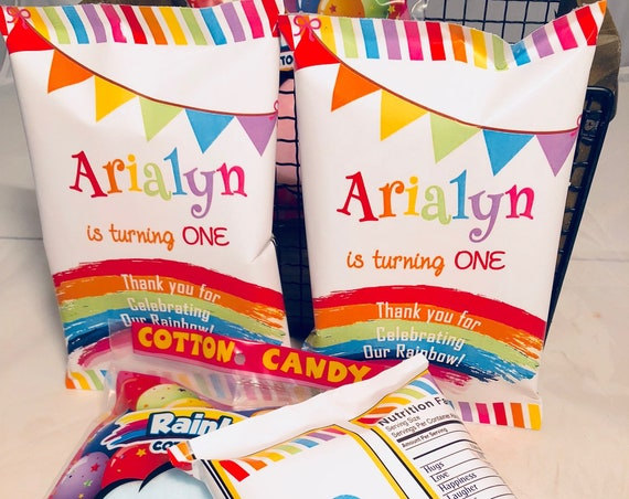 WRAPPER ONLY Rainbow Party Theme  Personalized Chip Bags, Rainbow Baby Chip Wrappers, Rainbow Party Chip bags. Set of 12