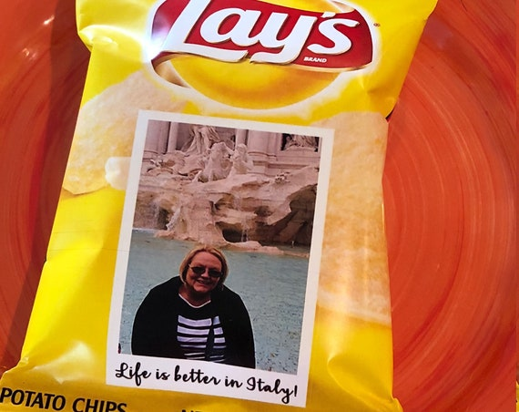 WRAPPER ONLY. Lays Potato Chips Wrappers, Personalized Lays Chips, Retirement Chip Wrappers, Personalized Chip Wrappers.  Set of 12