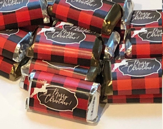 Buffalo Plaid Christmas Party Hershey's Miniatures Favors,Plaid party theme, Lumberjack  party favors,Black and Red plaid Minis. Set of 50