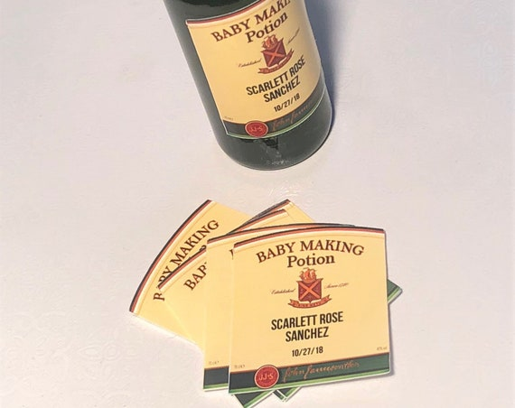 Irish Whiskey Mini Liquor Bottle Label, Mini liquor bottle labels, Baby Making Potion bottle labels,Mini Baby Making Potion Labels.Set of 12