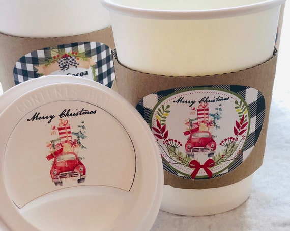 Christmas Paper Cup Sets Holiday Hot Cocoa Paper Cups, Christmas Party Paper Cup Sets, Personalized Paper Cup Sets.Set of 20
