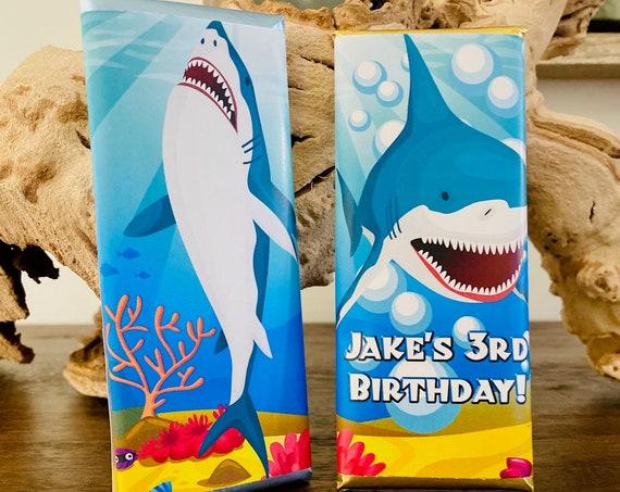 Shark Week Party Favors, Shark Week Candy Bar Wrappers, Shark Week Chocolate Favors,  Set of 20