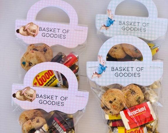 Ships fast! Easter Bag Toppers, Bag Handle Bag Toppers, Easter Bag Topper with Handle, Basket of Goodies Bag Topper. Set of 10.