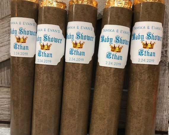 Wrapper and Band ONLY.  White Band Chocolate Cigar Labels, Chocolate Cigar Baby Showers, Prince Theme Chocolate Cigar Labels. Set of 24
