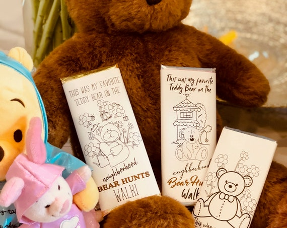 Color Me Bear Hunts Chocolate Bar Wrappers, Neighborhood Bear Hunts Chocolate Bars, Social Distancing Children Activity.  Set of 20.