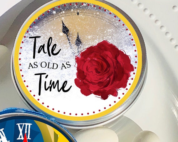 Tale as Old as Time Party theme Mint Tins, Beauty and the Beast Party Favors, Red Rose Party Theme Mint Tins.  Set of 12