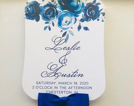 Fully Assembled Wedding Fans, Blue Hand Fans, Personalized Fans, Paddle Fans, Wedding Fans Favors, Wedding Favors,Blue. Set of 25