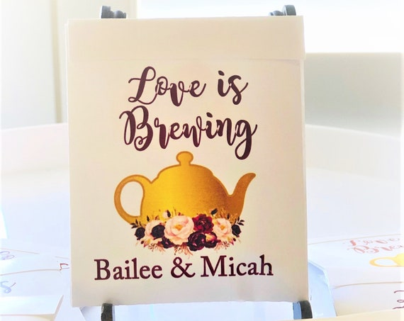 Personalized Tea Bag Holders, wedding party favors, Tea Bag Tags, Wedding Tea Bag gifts. Gold Tea Pot with Flowers Holder. Set of 30