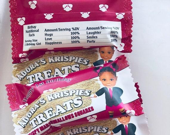 Birthday Treats, Personalized Krispies Treats, Bossy Birthday Treats, Treats Birthday Celebration.Set of 12