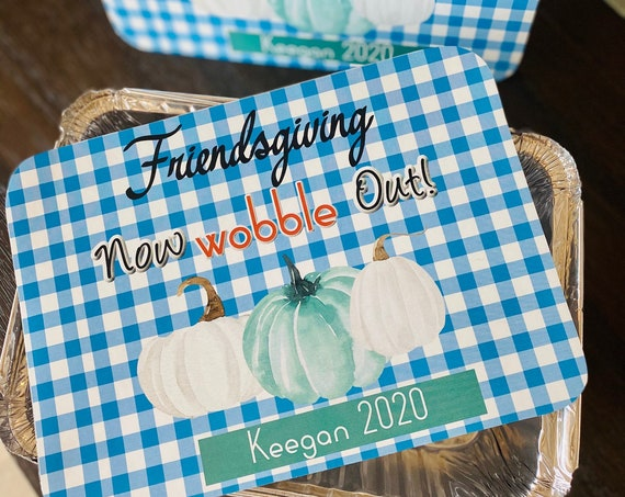 Thanksgiving Take Home Containers, Blue Gingham Thanksgiving  Take Home Container, Pumpkin Teal and White Take Home Container.Set of 6