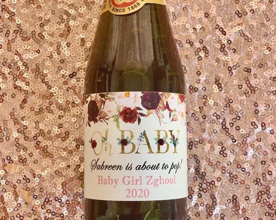 Oh Baby Baby Shower Sparkling Apple Cider Labels, Oh Baby Apple Cider Labels, Gold and Floral Baby Shower Favors. Sold in sets of 12