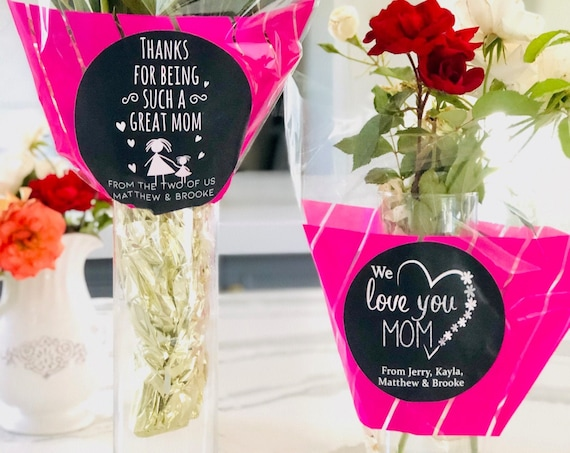 Personalized Flower Sleeves, Personalized cellophane arrangement bags, Plastic flower sleeves, Mothers Day Flower Sleeves.1 Sleeve per order