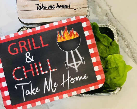 BBQ Take Home Containers, BBQ Party Left over Container, Left Over Containers, Grill & Chill Party take home containers. Set of 6