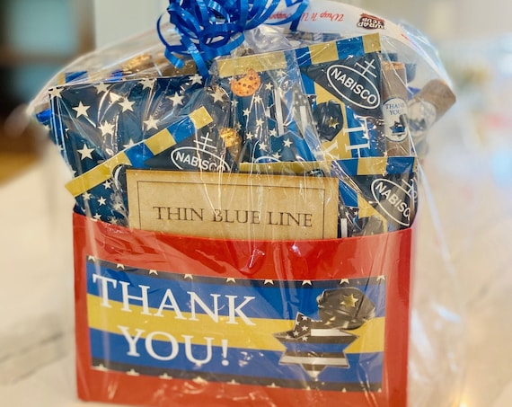 3 sizes.Law Enforcement Gift Set, Thank you Law Enforcement chocolate and Snack Gift Set,Thin Blue Line Gift Set, Thank you Police Gift Set.