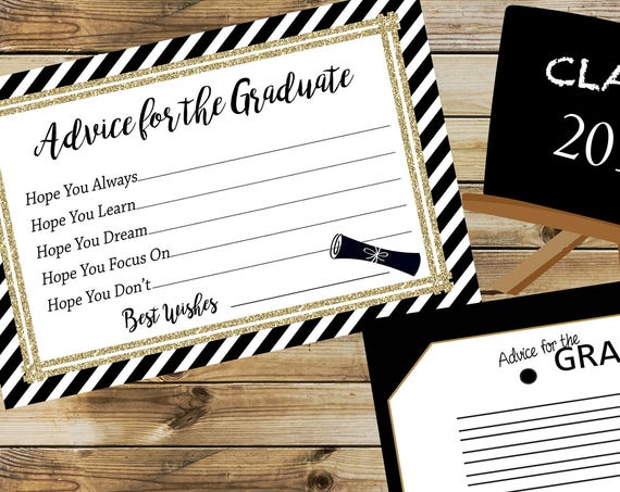 Advice for Graduate Cards, Graduation Party, Black and Gold Advice for Graduate, Graduation Activity Game. Set of 30