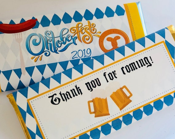 FULLY ASSEMBLED Oktoberfest Chocolate Bar Wrappers, Oktoberfest Chocolate Bar Party Favors, Oktoberfest Party Favors. Set of 20