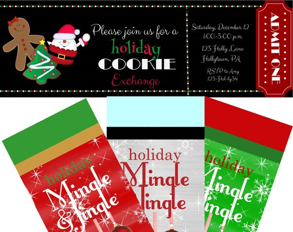 Christmas Cookie Exchange Invitations, Cookie Exchange Invites, Holiday Cookie Exchange Invitations. Set of 24