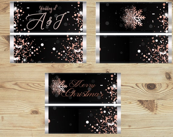 Set of 20. Fully Assembled or Wrapper Only  Rose Gold Holiday Chocolate Favors, Rose Gold and Black Wedding, Rose Gold and Black Holiday.