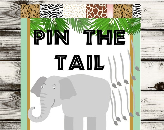 Pin the Tail Safari Game, Pin the Tail on the Elephant Game, Jungle Theme Pin the Tail Game, Safari  Birthday Party theme Game.
