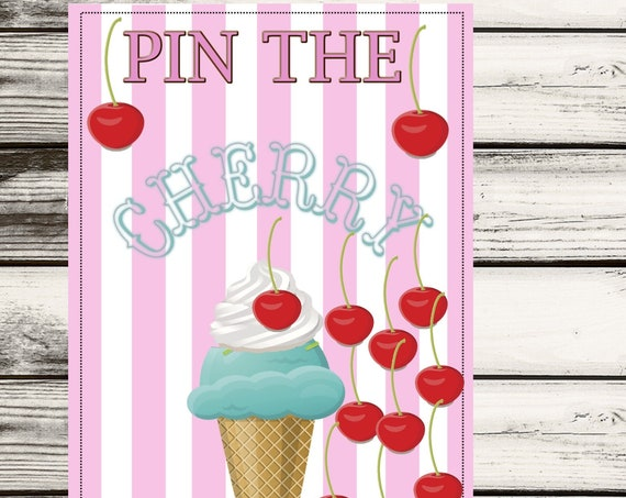 Pin the Cherry on the Ice Cream Poster, Ice Cream Party Game, Pin the Cherry on the Ice Cream Game Poster