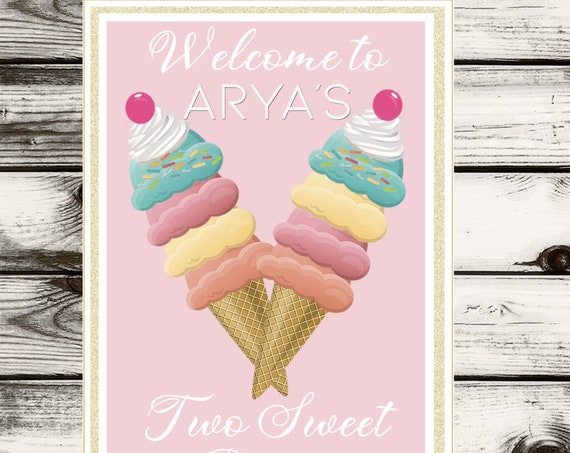 Two Sweet Ice Cream Party Poster, Two Sweet Ice Cream Parlor, Two Scoops Ice Cream Party backdrop, Ice Cream Sundae Party.