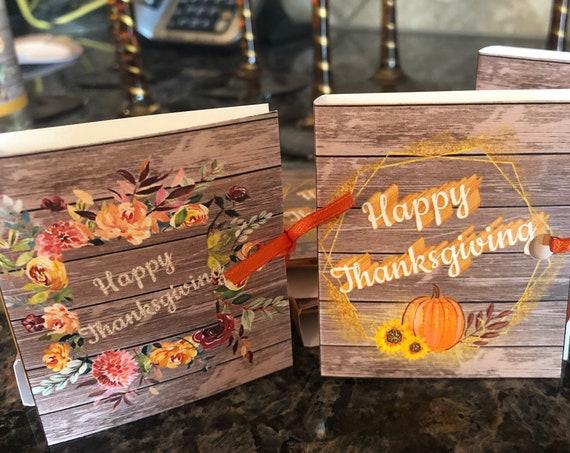 Thanksgiving Table Favors, friendsgiving Ghirardelli Favors,Thanksgiving Guest Favors, Ghirardelli Thanksgiving Favor. Set of 15