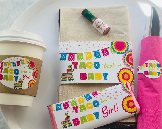 Taco 'bout a Party table set, Taco 'Bout a Shower Set, Taco 'Bout coffee, chocolate, and napkin wrap set, Taco 'Bout A Baby Set.  Set of 10