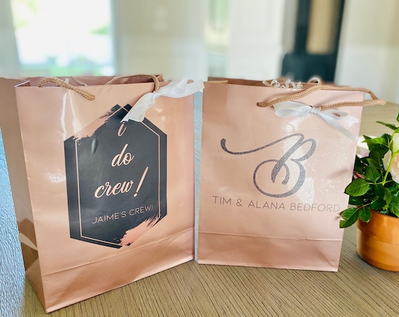 SIX designs! Personalized Rose Gold Gift Bags. I Do Crew Rose Gold Gift Bag, Personalized Wedding Gift Bag. Listing Price is for 1 Gift Bag.