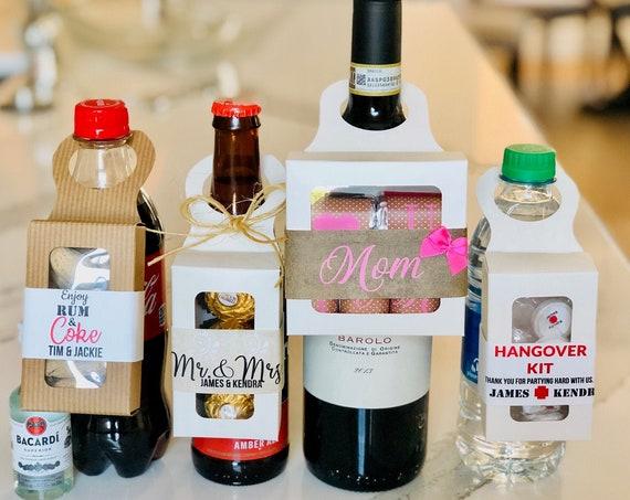 Bottle Hanger Favor Box, Wine Hanger Favor Box, Hangover Hanger Favor Box, Wedding Bottle Hanger Favor. Set of 1.