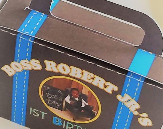 Suitcase Favor Box, Boss Boy suitcase, Box Suitcase  Suitcase Party Favor, Little Boss boy Favor Box, Boss suitcase box. .Sets of 25